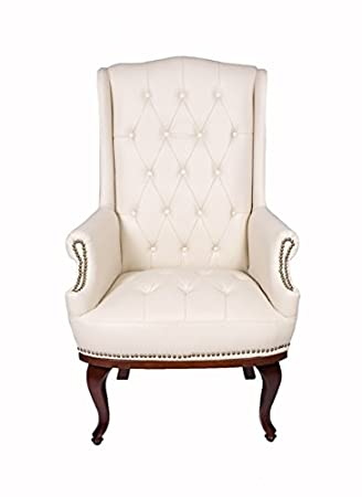 Angel Home Leisure Queen Anne Fireside High Back Wing Back Cream Leather Chair Chesterfield Type Armchair Beige