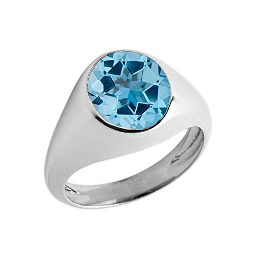 (Elegant Sterling Silver Solitaire December Birthstone Gentleman's Pinky Ring (Size 4))