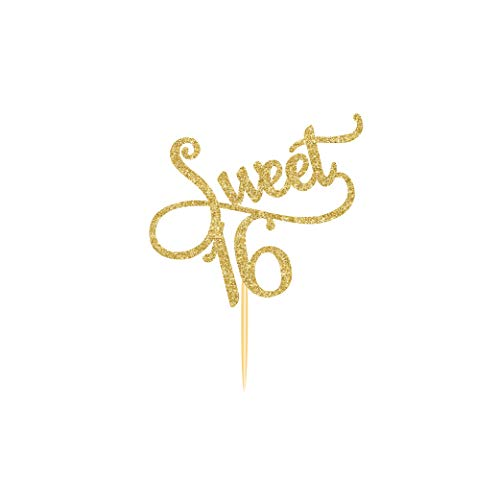 CC HOME 16th Birthday Decorations Party Supplies Sweet 16 Birthday Cake Toppers  Gold Glitter 16th Birthday Cake Toppers 16 Cake Topper Gold  Sweet Sixteen Decorations for 16th Birthday/Wedding Anniversary Party Sign Decorations