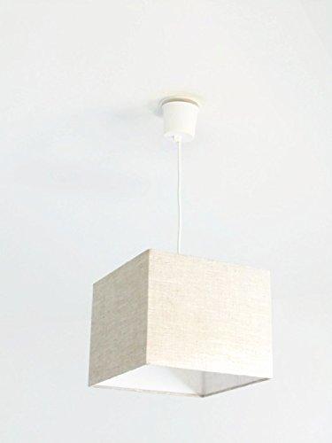 Lustre suspension plafonnier abat jour cube carré coins vifs Lin + fil électrique idée cadeau anniversaire fête des mères bord de mer zen cocooning