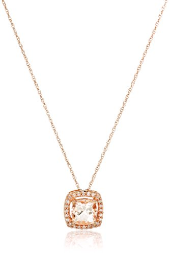 Cushion Diamond Necklace (10k Rose Gold Cushion Morganite and Diamond Pendant Necklace (1/10cttw, I-J Color, I2-I3 Clarity), 18
