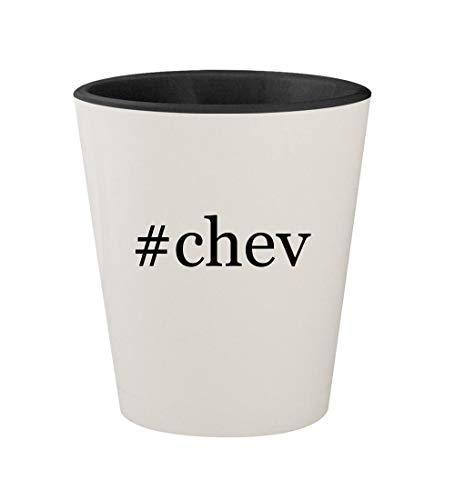 #chev - Ceramic Hashtag White Outer & Black Inner 1.5oz Shot Glass