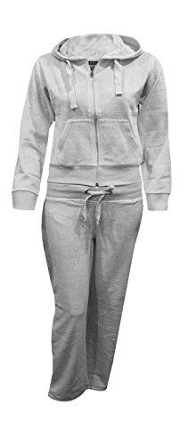 Kids Girls Hooded Velour Comfortable Pocket Zip Plus Size Active Jogging Lounge Top Bottom Suit Sweatpants Tracksuit_Grey_7-8