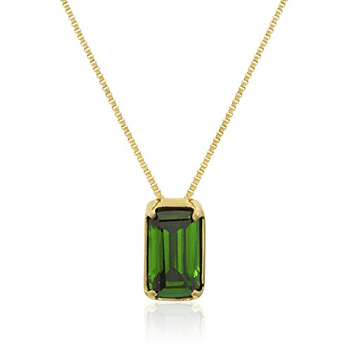Stainless Steel 4 Prong Stone Created Baguette Pendant Chain Necklace (Emerald Pendant/Gold (Michele Designer Necklace)