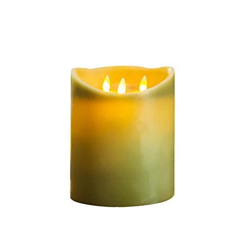 Flameless Candles 6 X 7.2 Inch Green Real Wax Pillars Realistic Dancing LED Flames and 2-key Remote Control with Timer Function by NONNO&ZGF