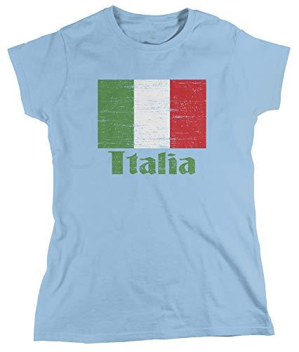 (Amdesco Women's Flag of Italia, Italian Italy Flag T-Shirt, Light Blue Medium)