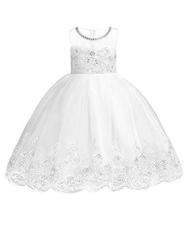 JOYMOM Lace Christening Gown, Infant Bateau Neck Sleeveless First Communion Beading Organza Guipure Embroidery Bowknot Hidden Zipper Gorgeous Lace Hem Dress White 100 ()