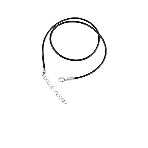 Black Wax Cord Necklace (Black Wax Leather Snake Necklace Beading Cord String Rope Wire 45cm Extender Chain with Lobster Clasp (Grey))