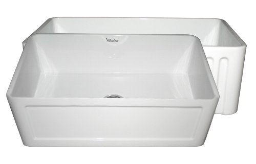 (Whitehaus Collection WHFLCON3018-WHITE Farmhaus Fireclay Reversible Kitchen Sink with a Concave One Fluted Front Apron on The Opposite Side,)