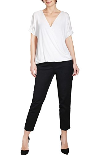BodiLove Women's Surplice Front V Neck Top with Roll Up Sleeve Casual Blouse Off White (Best J.tomson White Blouses)