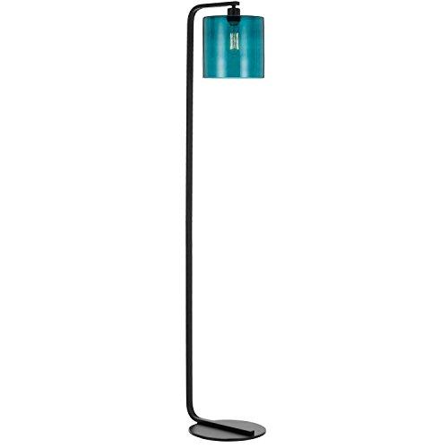Af Lighting Modern Floor Lamp - AF Lighting 9116-FL Lowell Floor Lamp with Teal Glass Globe, Black