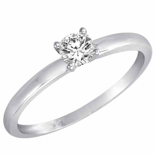 1/4 ct. Round Diamond Solitaire Ring in 14K White Gold – Size 7