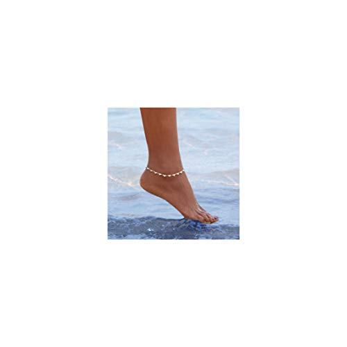 Gold Heart Ankle Bracelet - Mevecco Gold Dainty Heart Anklet,14K Gold Plated Cute Tiny Heart Shaped Boho Beach Minimalist Simple Foot Chain Ankle Bracelet for Women and Girls
