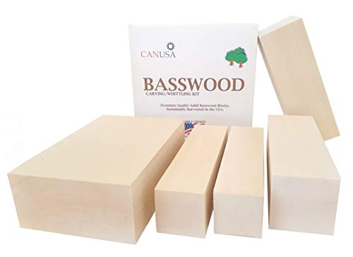 Larger Basswood Carving/Whittling KIT. Premium Carving/Whittling Unfinished Wood Blocks for Kids or Adults, Beginner to Expert.