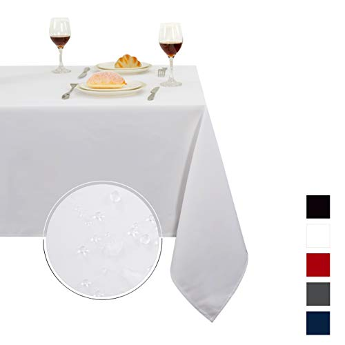 - Obstal Rectangle Table Cloth, Oil-Proof Spill-Proof and Water Resistance Microfiber Tablecloth, Decorative Fabric Table Cover for Outdoor and Indoor Use (White, 60 x 84 Inch)