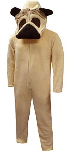 Bioworld Pug Dog Union Suit Onesie-Medium Brown ()