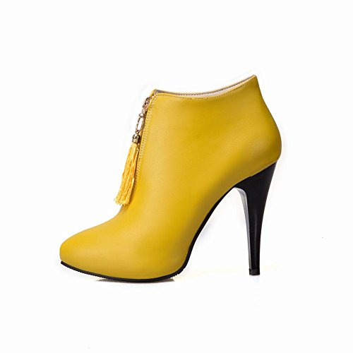 Mee Shoes Women's Chic High Heel Zip Ankle High Boots Yellow 5Bd7RKD