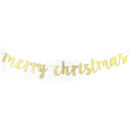 - Merry Christmas Banner Gold Glitter Christmas Party Decoration Supplies