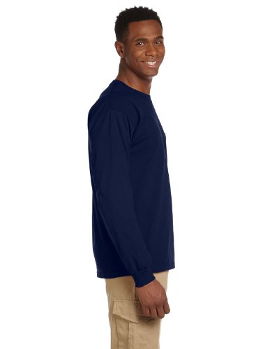 By Gildan Gildan Adult Ultra Cotton 6 Oz Long-Sleeve Pocket T-Shirt - Navy - 4XL - (Style # G241 - Original Label) - Adult Ultra Cotton Pocket