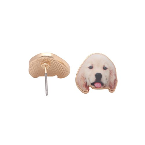 Golden Labrador Retriever Puppy Dog Stud Earrings Enamel From the Ginger Lyne Collection -