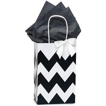 Amazoncom Black White Chevron Small Shopper Gift Bags Quantity