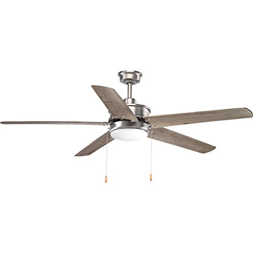 Progress Lighting P2574-8130K Protruding Mount, 5 Driftwood Blades Ceiling fan with 18 watts light, Antique Nickel