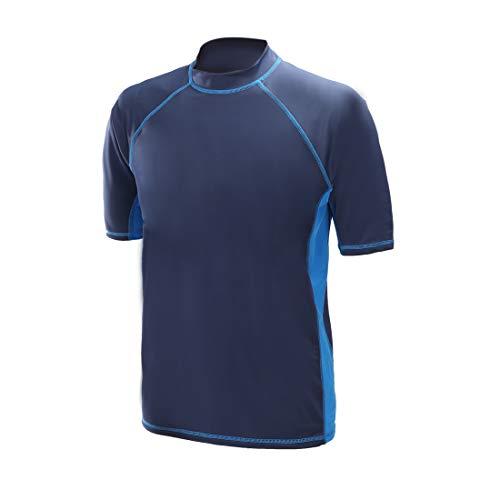 Remeetou Men's Surf Short Sleeve Round Neck T Shirts Sun Protection Quick-Dry Rashguard Swim Shirt (Navy with Royal, X-Large)