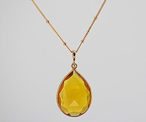 Amazon large pear shape citrine quartz necklace large yellow large pear shape citrine quartz necklace large yellow citrine pendant necklace november birthstone necklace aloadofball Choice Image