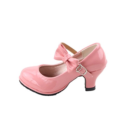 Picture of Children Princess Shoes Girls Party Bow Shoes Shiny Solid Color High-heeled Fashion Shoes for Kids Size26-35