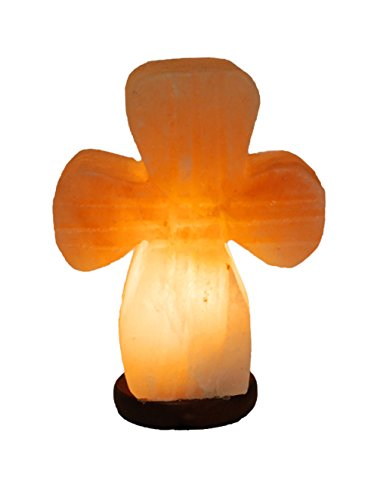 - Cross Model Himalayan Salt Lamp Sea Crystal Rock Large Hand Carved with Dimmer Switch and Bulb JIC Gem