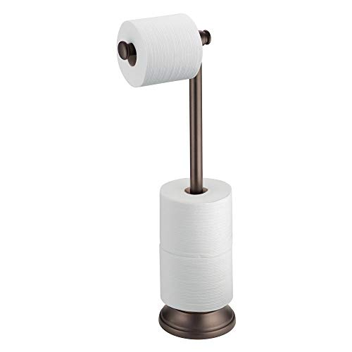 Brass Standing Toilet Tissue Stand - InterDesign Kent Plastic Toilet Tissue Caddy Roll Reserve for Bathroom, Compact Organizer, Holds 5 Paper, Bronze