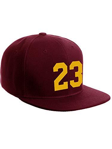 Classic Flat Bill Visor Snapback Hat Custom Color Player Team Numbers, Number 23 Gold, Burgundy Hat (Caps Team Money Gold)