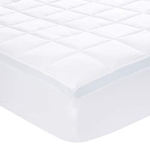 AmazonBasics Down-Alternative Gusseted Mattress Bed Topper Pad with 2-Inch Memory Foam – Full