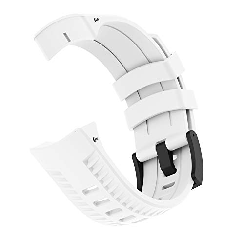 PATROHOO Bands for Suunto 9 Watch. Silicone Strap Watch Band for Suunto 9 Baro Watch,Soft Rubber for Women Man.(White)