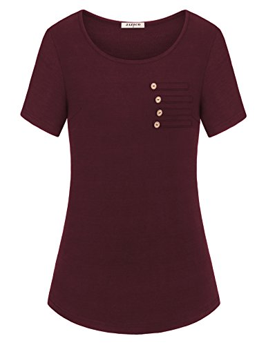 Jazzco Womens Business Casual Clothing, Ladies Summer Short Sleeve Basic Round Neck Button up T Shirt Tunic Tops(Wine,XX-Large)