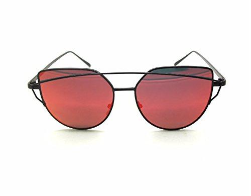 Mode Féminine Cat Eye Sunglasses Classique Marque Designer Twin-Poutres Lunettes de Soleil Lady Coating Mirror Flat Panel Objectif Lunettes (Or Cadre / Or Lense) lZJMbPxw