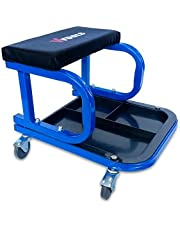 VTOOLS Rolling Car Creeper With Paded Seat-136 Kg Capacity-Tool Tray With Socket Organizer With Steel Frame,Blue,VT2120