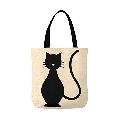 Black Cat Kitty Canvas Tote Bag Handbag Purse for Women