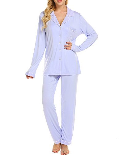 Ekouaer Plus Size Pajamas Women's Cute Pajama Shirt Long Sleepwear Set (Violet Ash,XL)