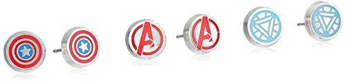 Marvel Comics Unisex Women'S Avenger Logo Pack Stainless Steel Round Stud Earrings -