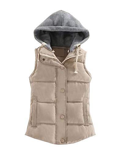 Jacket Up Beige Zipper Hooded Women Zip GladiolusA Waistcoat Outdoor Quilted Vest Gilet wAxqRU7