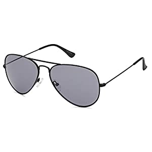 JETPAL Premium Classic Aviator Sunglasses w Flash Mirror and Polarized Lens Options UV400 (Non Polarized Grey Lens Black Frame)