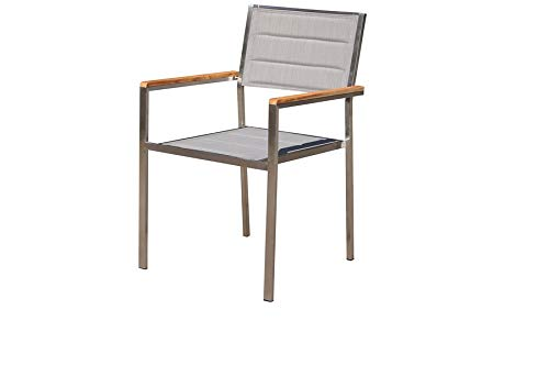 OUTFLEXX Moderner Stapelstuhl in Silber, aus rostfreiem Edelstahl, Sitzfläche aus Textilene und Armlehnen aus hochwertigem Teakholz, Circa 62 x 56,5 x 86 cm, Holzstuhl, Sessel, wetterfest