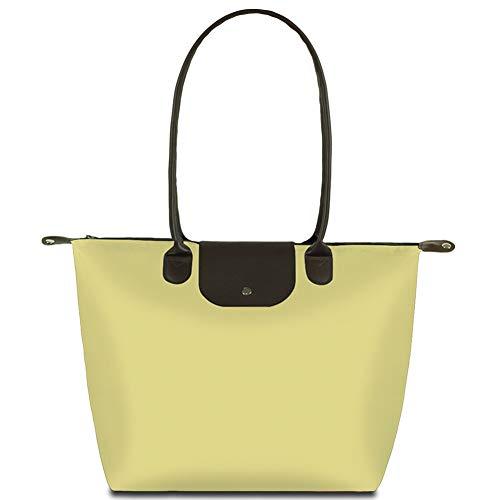 BeAllure Women's Stylish Waterproof Large Tote Bag Nylon Top Long Handle Shoulder Handbag Travel Trip Shopping Beach Bags,Beige