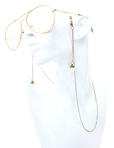 The Fresh Classic Large Metal Frame AR Coating Clear Lens Aviator Sunglasses and Necklace Eyeglass Chain Holder (3-Gold/Rose Glod Chain-2B, - Hut Contact Sunglass Us