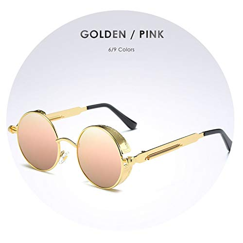 Metal Polarized Sunglasses Gothic Steampunk Sunglasses Mens Womens Fashion Vintage Shield Eyewear Shades,Gold Pink
