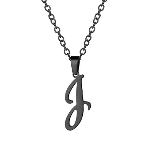 PROSTEEL Black Initial Letter J Necklace Alphabet Name Monogram Jewelry Stainless Steel Men Women Personalized Bridesmaid Gift Wedding Minimalist Bridal Party Graduation Gift,PSP3046H (Monogram Jewelry Necklace)