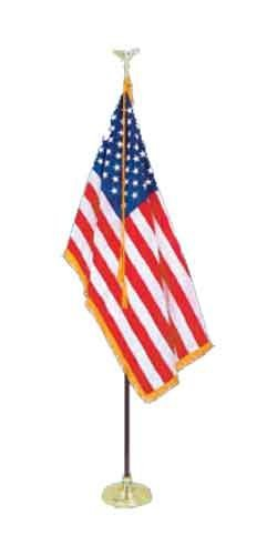 8' Executive Formal Indoor American Flag Set with 8' Pole, S