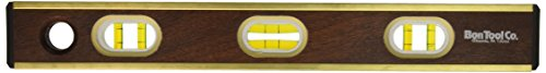 Bon 11-428 18-Inch Mahogany Brass Bound level Hand Grooves, Yellow Vials