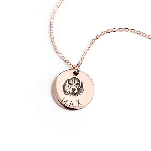MignonandMignon Personalized Pet Gifts Custom Pet Jewelry Dog Necklace Cat Gift Custom Portrait Unique Gift LCN-AP (Rose Gold)